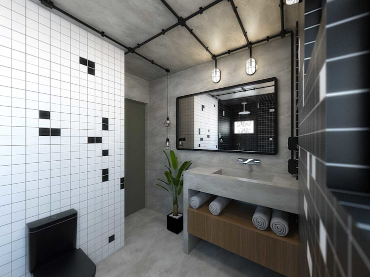 industrial Bathroom by TÉRREO arquitetos
