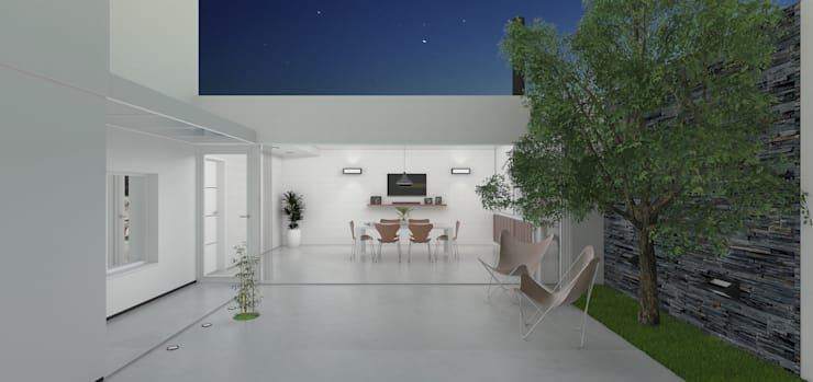 Quincho - Imagén exterior noche: Casas de estilo  por LK ESTUDIO