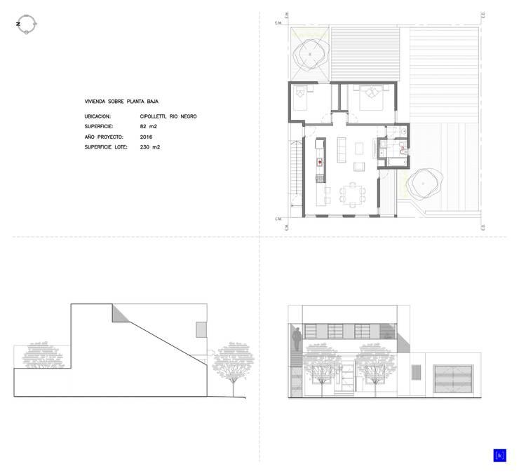 Documentación - Planta y vistas: Casas de estilo  por LK ESTUDIO