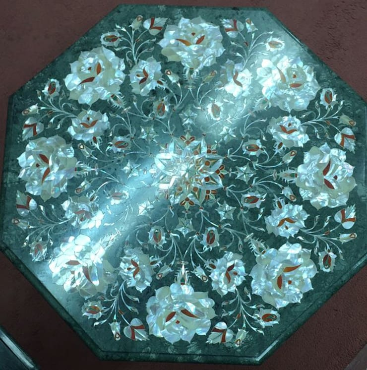 Marble inlay tabletops handicrafts :   by Touseef international