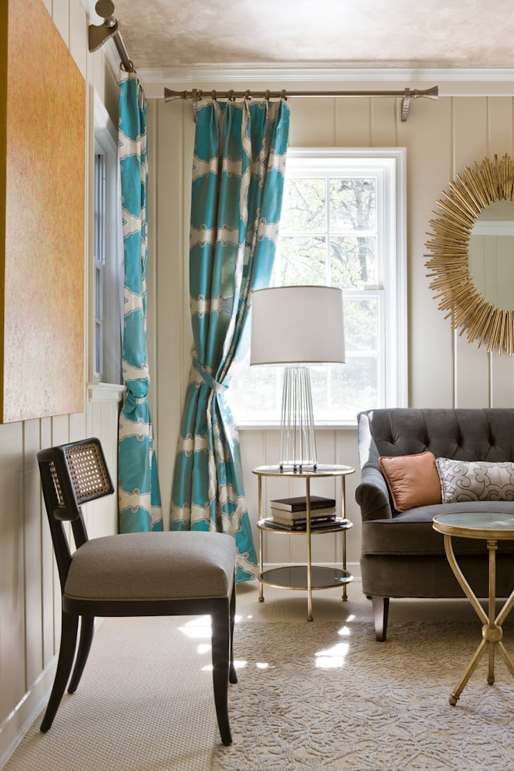 DC Design House - Chair and Sofa:  Living room by Lorna Gross Interior Design