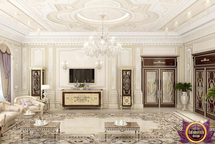 Luxury majlis design of Katrina Antonovich:  Living room by Luxury Antonovich Design