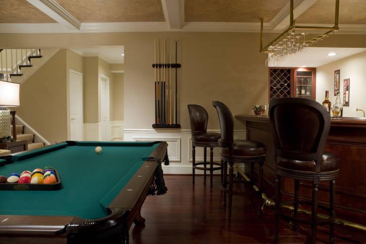 Shanghai Chic - Bar & Billiards Room:  Media room by Lorna Gross Interior Design
