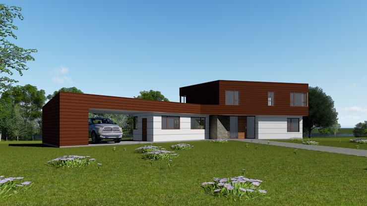 CASA CY: Casas de estilo  por EjeSuR Arquitectura