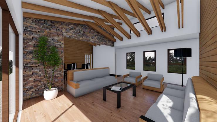 CASA AN: Livings de estilo  por EjeSuR Arquitectura