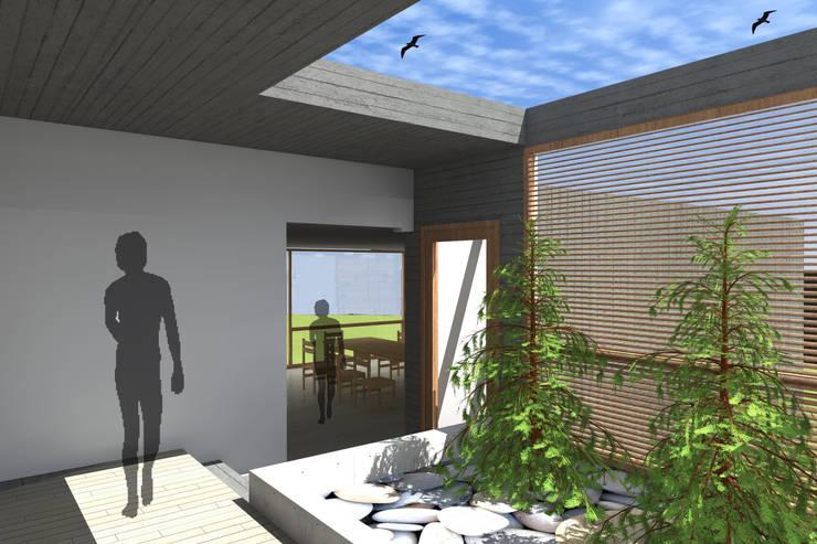 CASA ALGARROBO: Pasillos y hall de entrada de estilo  por Arc Arquitectura
