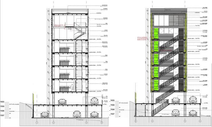 L _ 24 - Sur _ Apartamentos Lofts: Casas de estilo  por @tresarquitectos, Industrial