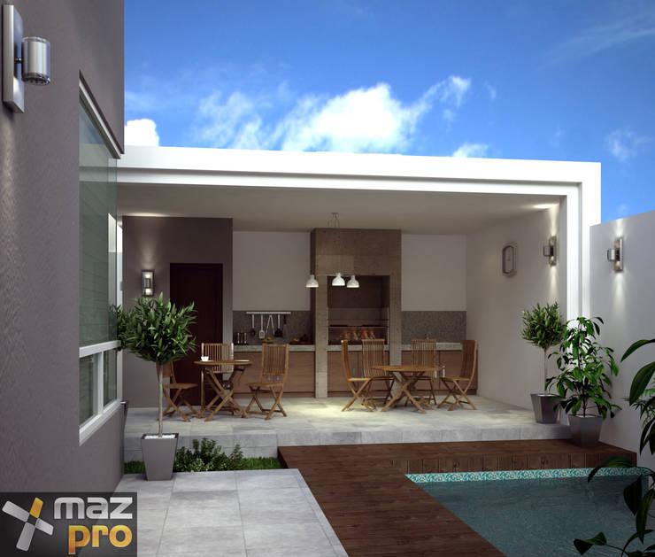 AREA DE ASADOR: Casas de estilo moderno por Mazpro Arquitectura