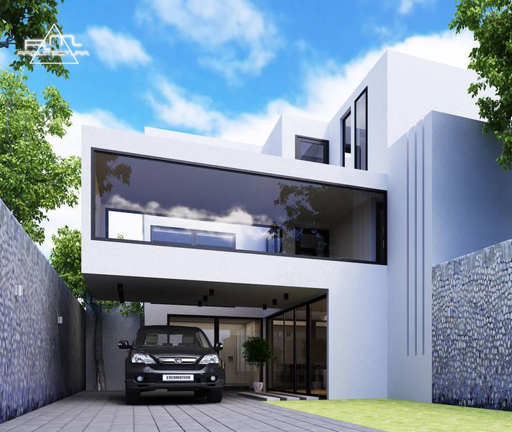 FACHADA CASA BSC: Casas de estilo  por RM ARQUITECTURA