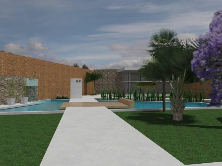 Acceso a SUM: Jardines de estilo  por Gastón Blanco Arquitecto,