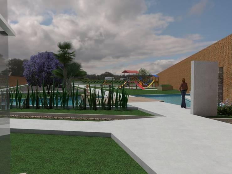 Plaza: Jardines de estilo  por Gastón Blanco Arquitecto,