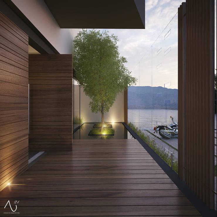 Vista Ingreso Exterior: Casas de estilo  por 21arquitectos