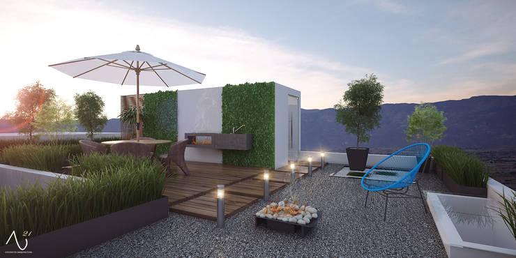 Roof Garden: Terrazas de estilo  por 21arquitectos