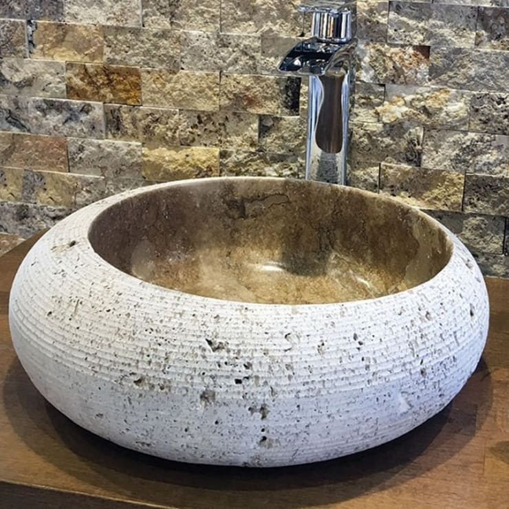 Kepez Yapı Market – Doğaltaş Lavabo Ve Mozaikler:  tarz Banyo