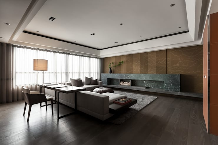 雙水灣:  客廳 by 大觀室內設計工程有限公司