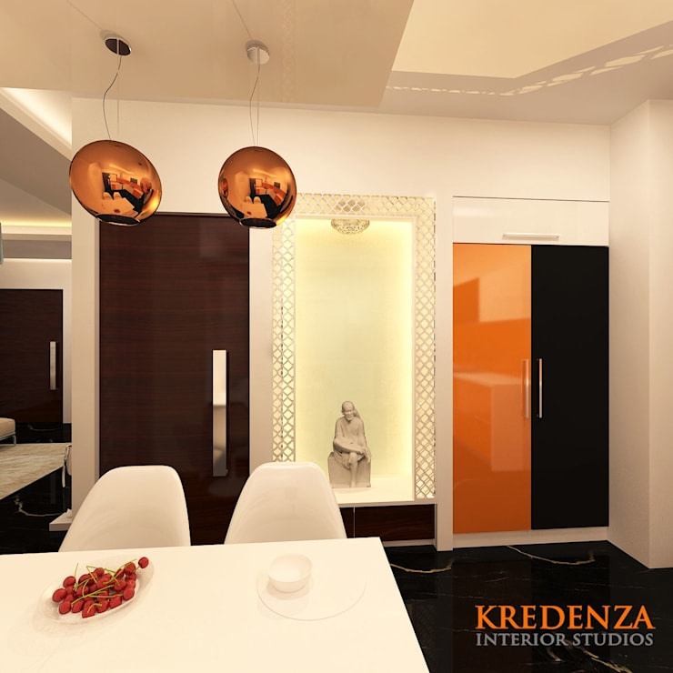 Prayer Area:  Dining room by Kredenza Interior Studios,Modern