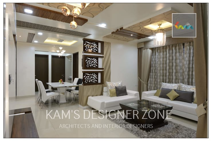 Apartment in Pharande L- Axis:  Living room by KAM'S DESIGNER ZONE