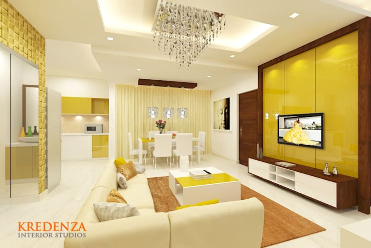 Living & Dining:  Living room by Kredenza Interior Studios