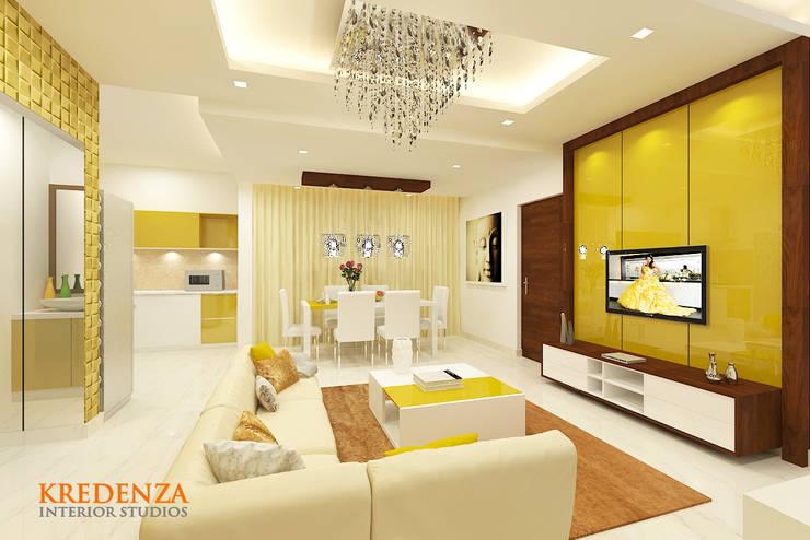 Living & Dining:  Living room by Kredenza Interior Studios,Modern
