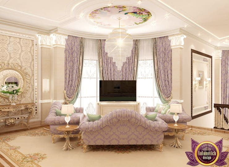 Beautiful living room from Katrina Antonovich:  Living room by Luxury Antonovich Design