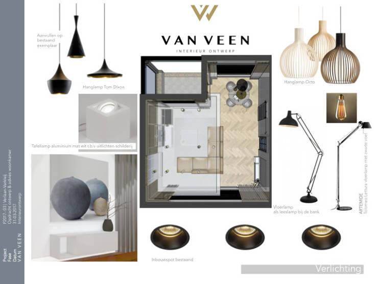 VERLICHTING:  Woonkamer door VAN VEEN INTERIOR DESIGN
