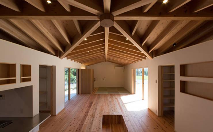 かぶら束の家: 田村淳建築設計事務所が手掛けたリビングです。