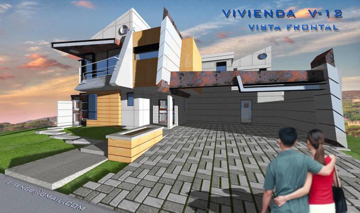 Vista Frontal sur/este. Vivienda V12. : Casas de estilo escandinavo por Eisen Arquitecto