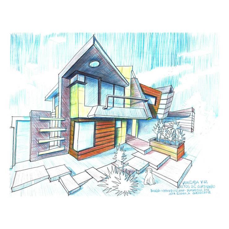 Vista Frontal sur/este a mano alzada. Vivienda V12. : Casas de estilo  por Eisen Arquitecto