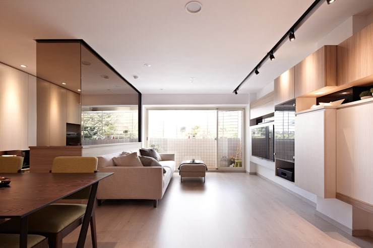 Salas / recibidores de estilo  por 耀昀創意設計有限公司/Alfonso Ideas