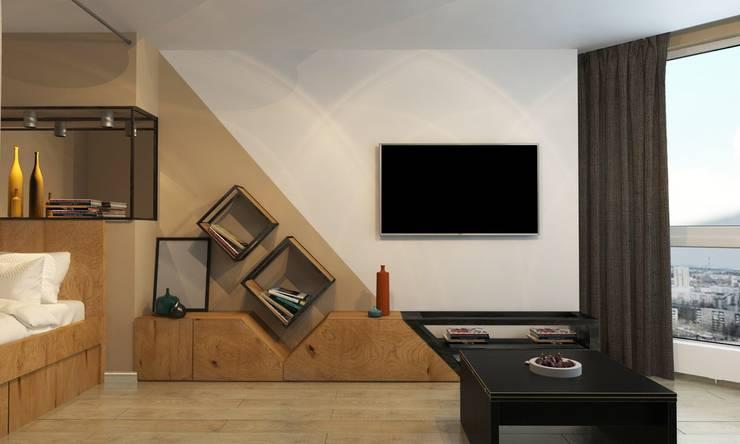 1к.кв. в ЖК Лазурная Симфония (50 кв.м): Гостиная в . Автор – ДизайнМастер, Модерн