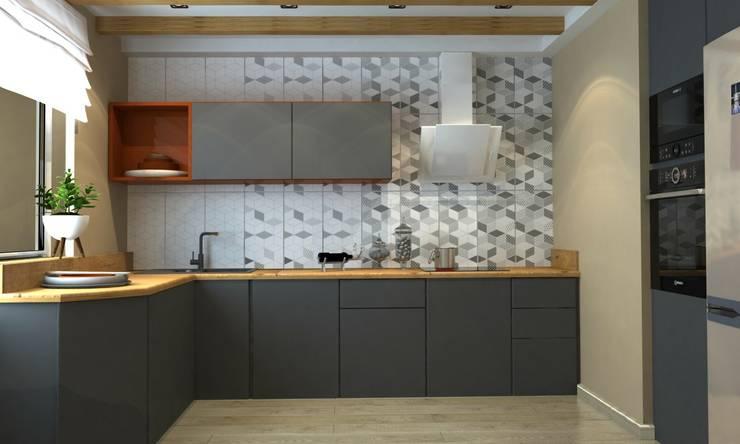 1к.кв. в ЖК Лазурная Симфония (50 кв.м): Кухни в . Автор – ДизайнМастер, Модерн