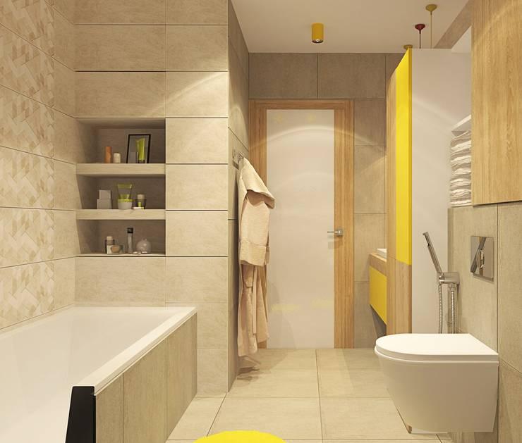 1к.кв. в ЖК Лазурная Симфония (50 кв.м): Ванные комнаты в . Автор – ДизайнМастер, Модерн