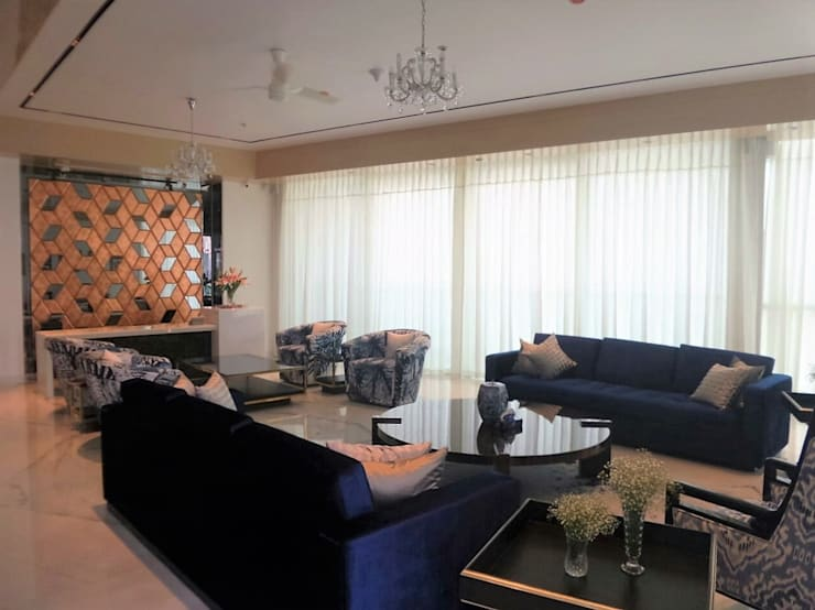 Living & Bar :  Living room by bhatia.jyoti