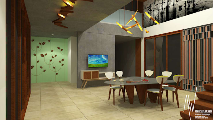 Interior of Ishwarbhai:  Dining room by Architects at Work