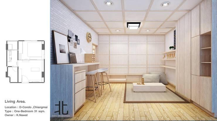 คอนโดสไตล์ญี่ปุ่น:  ห้องนั่งเล่น by เหนือ ดีไซน์ สตูดิโอ (North Design Studio)