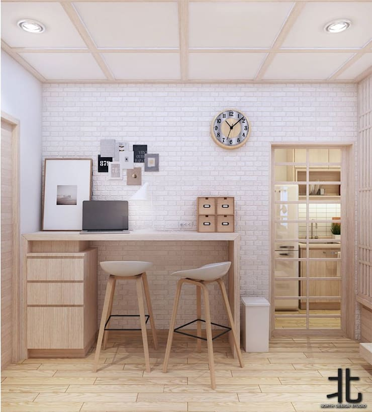 คอนโดสไตล์ญี่ปุ่น:  ห้องทานข้าว by เหนือ ดีไซน์ สตูดิโอ (North Design Studio)
