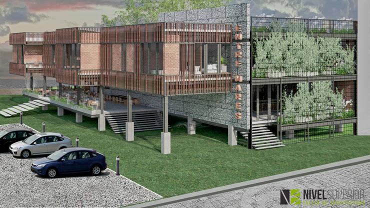 RESTAURANTE – HOTEL : Pasillos y vestíbulos de estilo  por NIVEL SUPERIOR taller de arquitectura ,