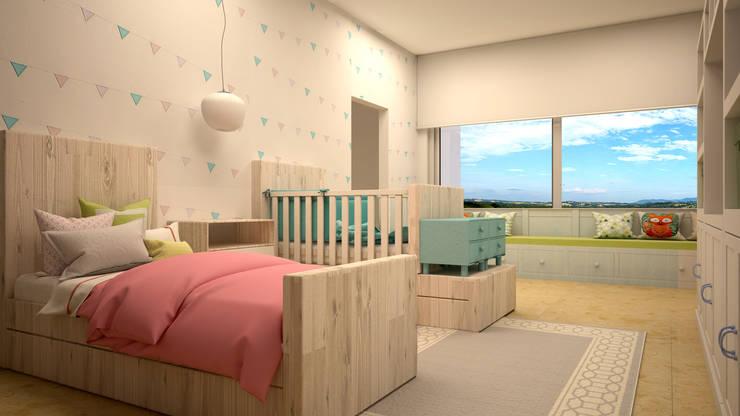 Penthouse CT30: Recámaras infantiles de estilo moderno por CONTRASTE INTERIOR