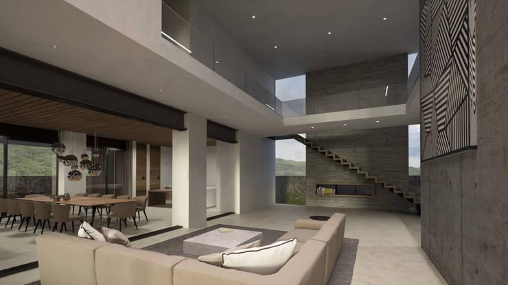 Vista general Planta Baja Pasillos, vestíbulos y escaleras de estilo moderno de HAC Arquitectura Moderno Hormigón