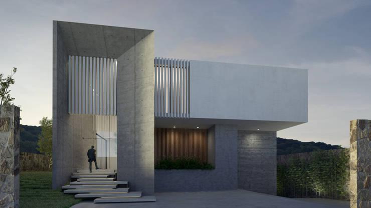 Fachada principal Casas de estilo moderno de HAC Arquitectura Moderno Hormigón
