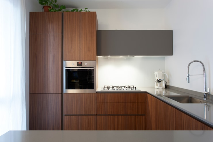 Cucina noce canaletto e Fenix Grigio Londra by P e R arredare di ...