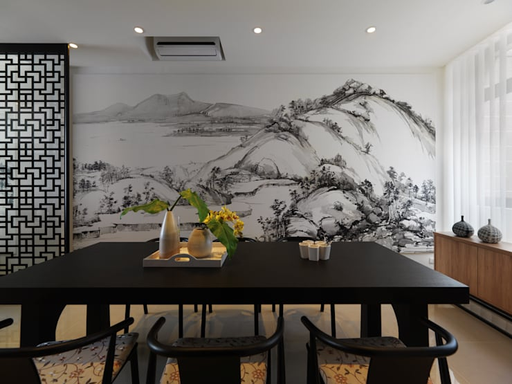 富「村」山居Dwelling in the Fuchun Mountains:  餐廳 by Glocal Architecture Office (G.A.O) 吳宗憲建築師事務所/安藤國際室內裝修工程有限公司