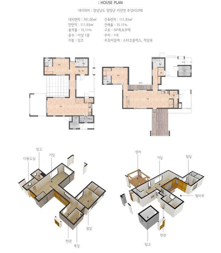 자연과 함께하는 건강한 집 _ 경상남도 함양군 SIP목조주택 (40평형): (주)에너집의