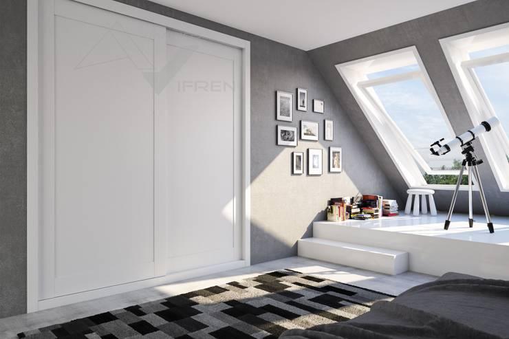 armario empotrado a medida de 2 puertas correderas blanco: Dormitorios de estilo  de Industrias del armario Vifren S.L.