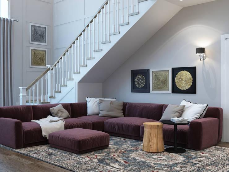غرفة المعيشة تنفيذ Interior designers Pavel and Svetlana Alekseeva