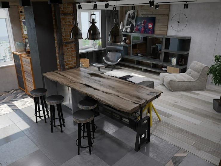 : Cocinas de estilo industrial por Interior designers Pavel and Svetlana Alekseeva