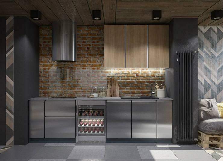 Cocinas de estilo industrial por Interior designers Pavel and Svetlana Alekseeva