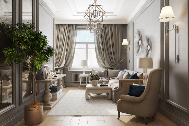 غرفة المعيشة تنفيذ Дарья Баранович Дизайн Интерьера