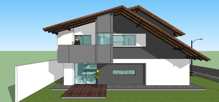 Fachada lateral de conjunto: Casas de estilo  por MARATEA Estudio