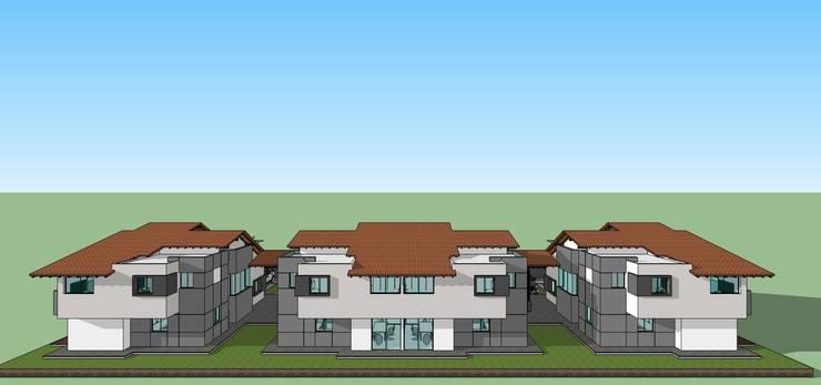 Fachada posterior de conjunto: Casas de estilo  por MARATEA Estudio